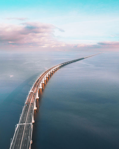 Aerial View Architecture Beauty In Nature Bridge Bridge - Man Made Structure Built Structure Cloud - Sky Connection Day Nature No People Outdoors Scenics - Nature Sea Sky Tranquil Scene Transportation Travel Water
