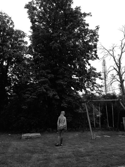 Dramatic posing :) Girl Trees Backyard