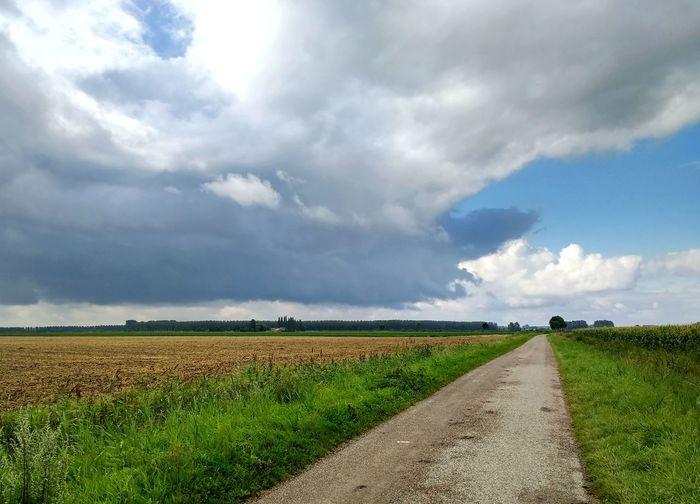 Sony A700 EyeEm Market © Getty Images EyeEm Premium Collection Field Cloud - Sky Rural Scene Beauty In Nature Cloudscape Landscape Zeeuws Vlaanderen Zeeland  The Netherlands Agriculture