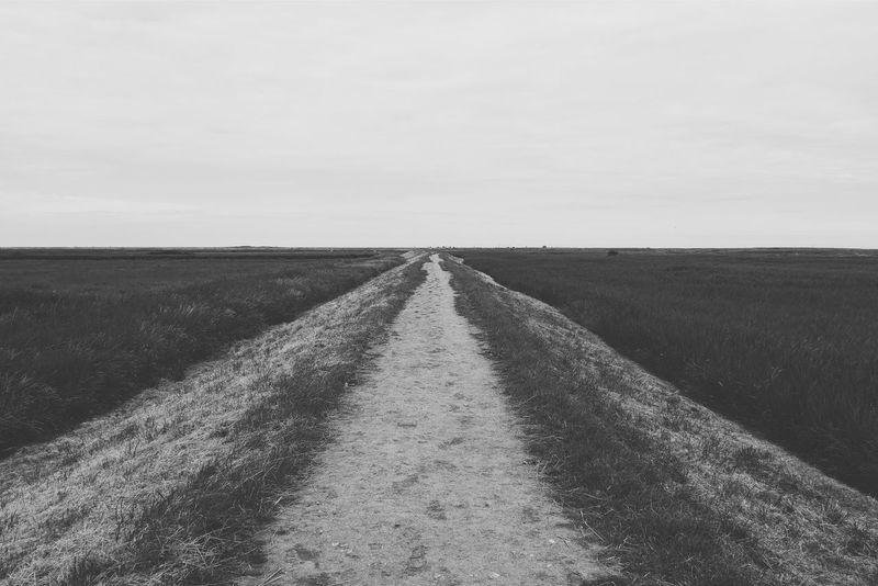 Starting out, Cley to Blakeney. Blackandwhite Coast Coastal Path Marshes Saltmarsh NorthNorfolk Walk Minimalism Minimal Path Big Sky Monochrome
