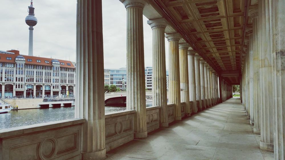 Berlin Museum Island Columns Architecture Travel Photography Vanishing Point Urban Geometry