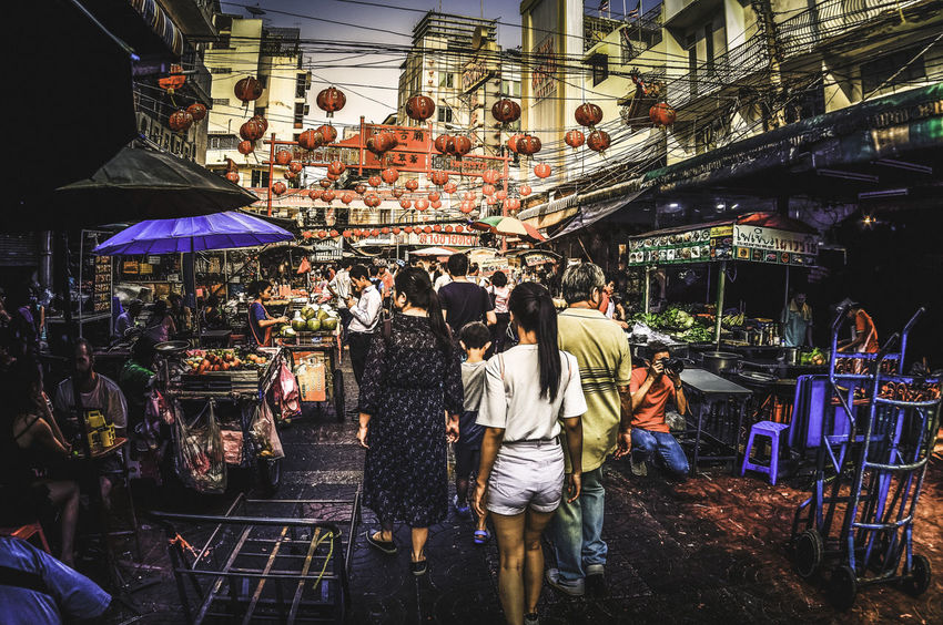 Crows in Chinatown Bangkok Chinatown Thailand Adult Architecture Built Structure Buying City Crowd Large Group Of People Lifestyles Market Market Stall Men Outdoors People Real People Retail  Women