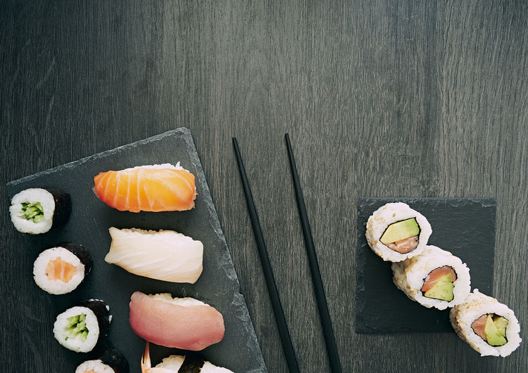 High angle view of sushi on table
