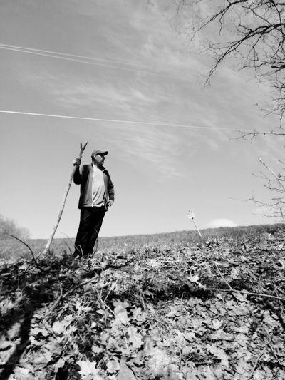 Full Length Standing Men Sand Sky Hiker