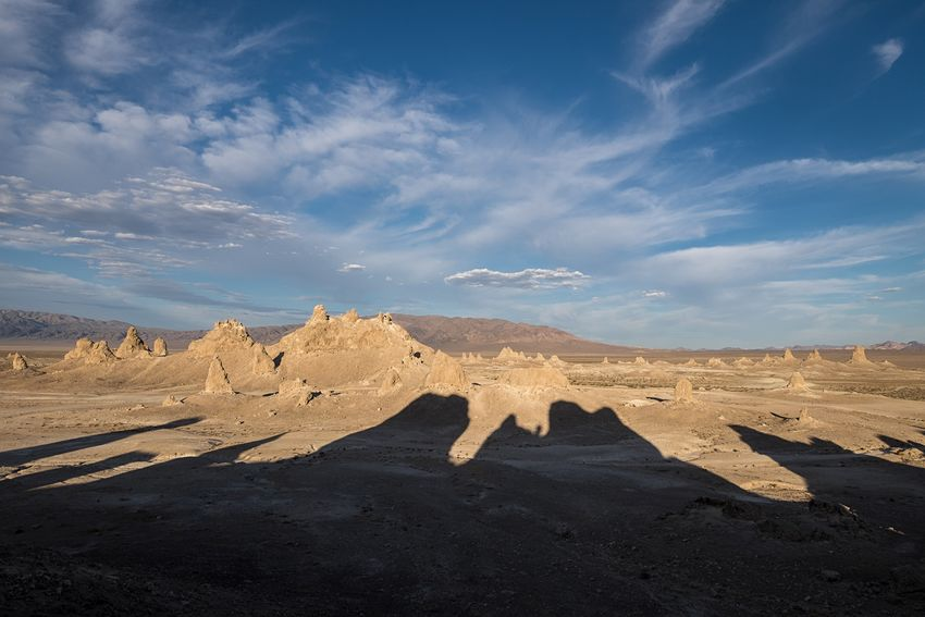 Chasing shadows at Trona Pinnacles. There's a photographer somewhere in there... Trona Pinnacles Desert Calfornia Landscape Nature