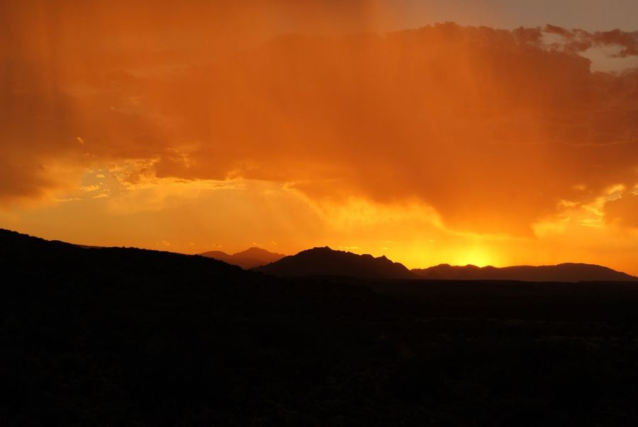 Mountain Beauty In Nature Sunset Nature Tranquil Scene Landscape Sky African Sky South Africa The Karoo Rain in the african sunset ❤️🇿🇦❤️