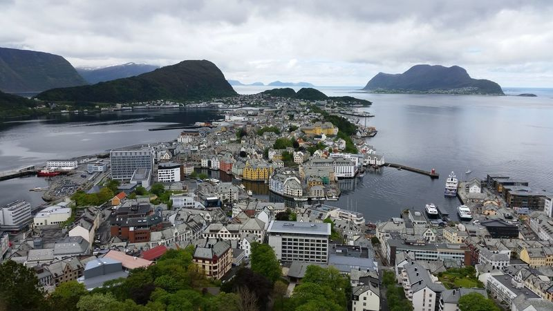 City Cityscape Coast High Angle View Mountains Norway Scenics Sea Sky Ålesund, Norway Neighborhood Map