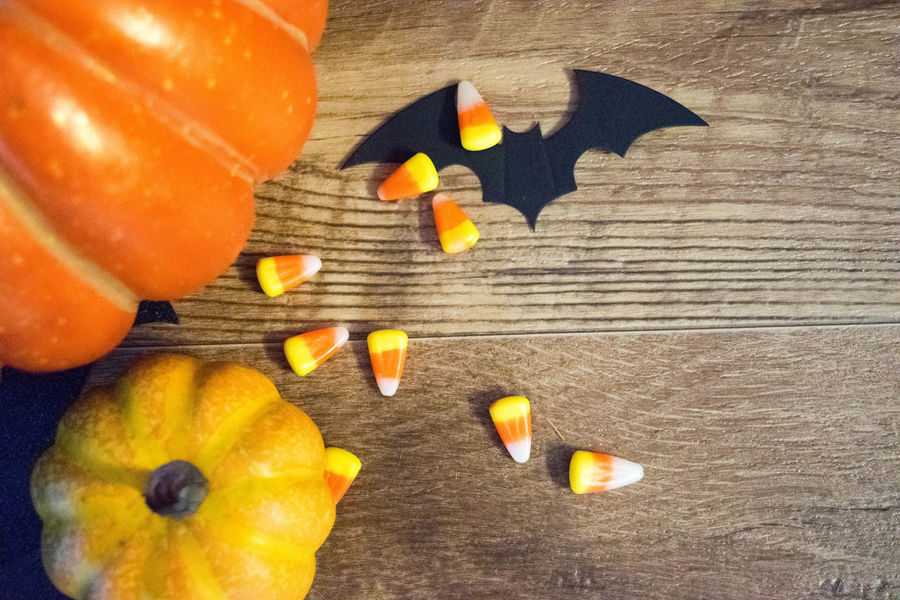 Bat Halloween Background Candy Candy Corn Close-up Day Festive Food Food And Drink Freshness Header Healthy Eating Indoors  No People Pumpkin Season  Sweet Food