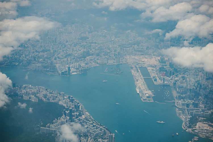High angle view of  hong kong cityscape against sky