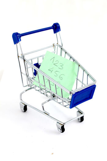 1⃣2⃣3⃣ Buying Close-up Consumerism Customer  Groceries Note Paper Numbers One Person Paper Retail  Shopping Basket Shopping Cart Store Studio Shot Supermarket Trolley White Background