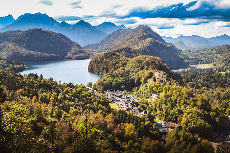 Overlook near Neuschwanstein Castle Neuschwanstein NeuschwansteinCastle Beauty In Nature Day Germany Lake Landscape Mountain Mountain Range Nature No People Outdoors Sky Tranquil Scene Tranquility Tree Water