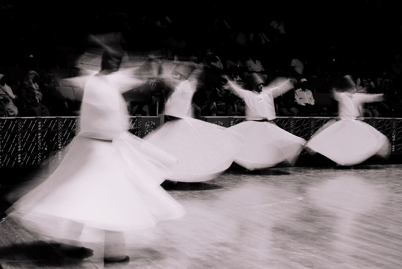 Blurred motion of dancers performing on stage