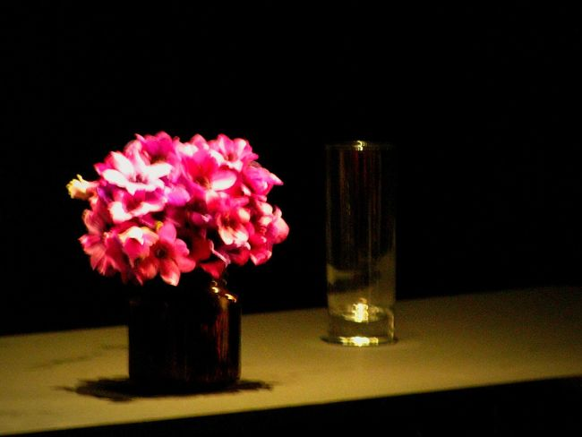 Purple Purple Flower Purple Color Pink Pink Flower Glass Flower Black Background Table No People Vase Petal Flower Head Pink Color Freshness Indoors  Fragility
