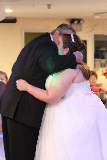Two People Love Togetherness Wedding Bride Embracing Affectionate Wedding Dress Bonding Candid Father Daughter Time Father Daughter Moments Candid Photography Family Bonds Hugging