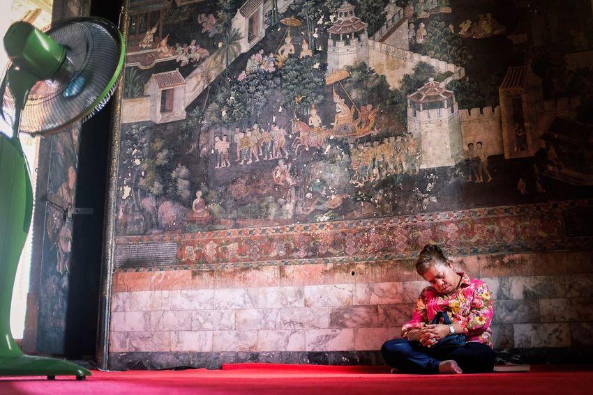 Sitting One Person Thailand Temple Faith