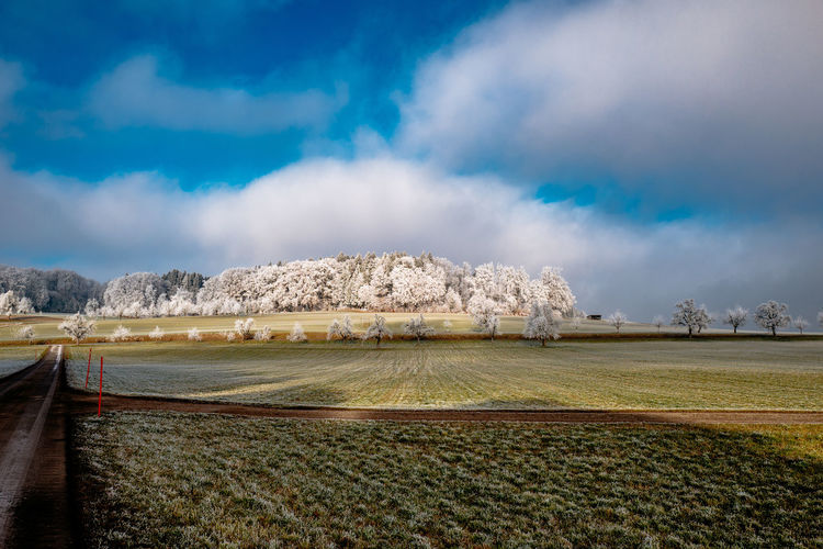 Scenic View Of Agricultural Field Against Cloudy Sky During Winter