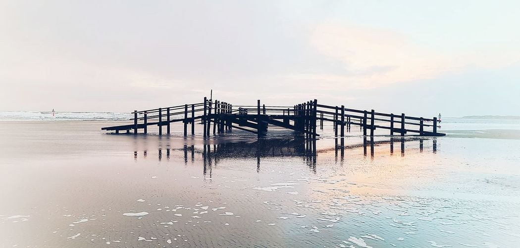 Water Sea Beach Sky Horizon Over Water Cloud - Sky Stilt House Pier Wooden Post Seascape Tide Coast