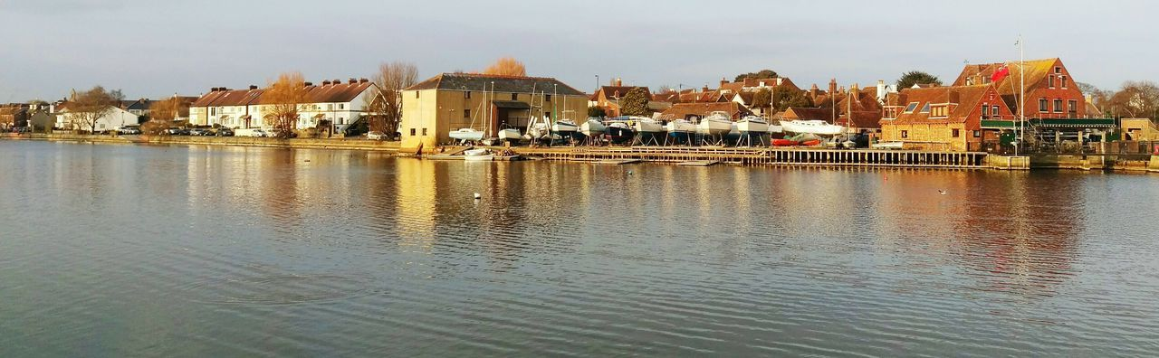 Emsworth Chichester Harbour Mill Pond Boats Boat Yard Terraced Houses Calm Panorama