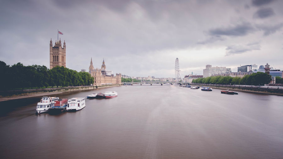 High Angle View Of Boats Sailing In Thames River Against Cloudy Sky