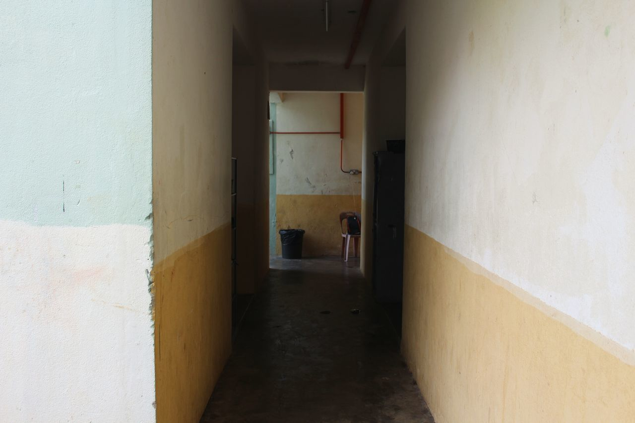 architecture, built structure, indoors, door, corridor, the way forward, day, no people, prison