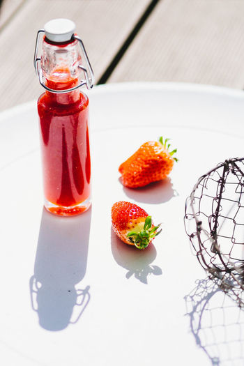 Close-up of a strawberries on table