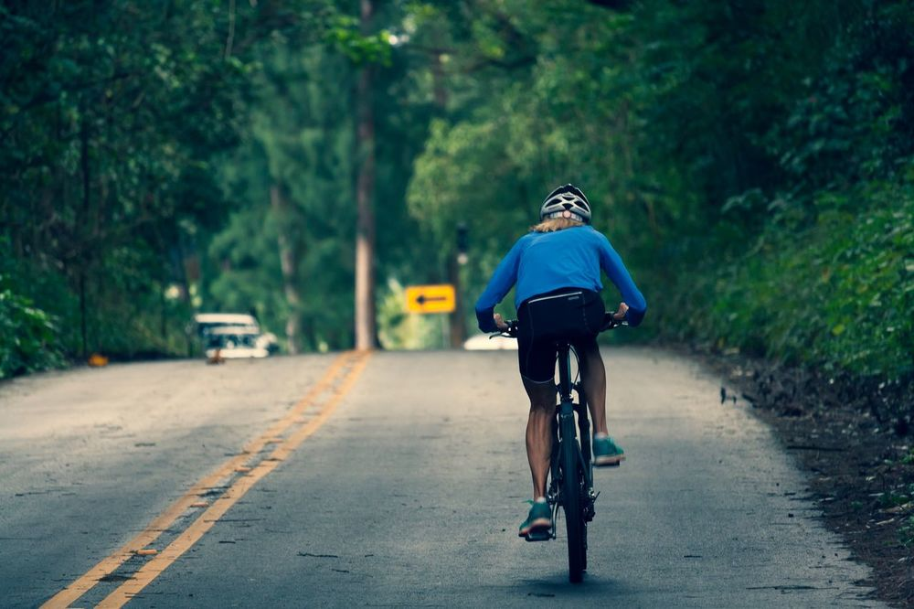 Bicycle Cycling Riding Transportation Rear View Road One Person