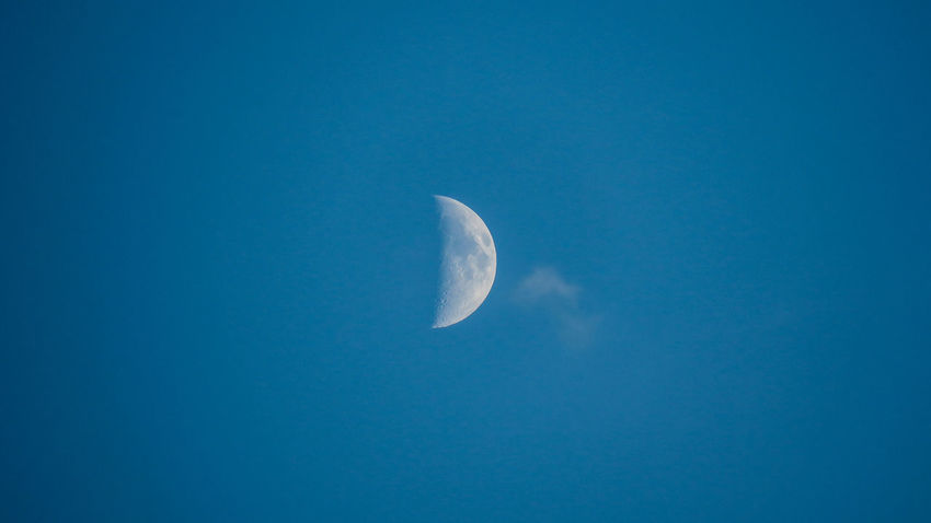 Morning moon in the blue sky Austria Innsbruck Moon Moon Shots Astronomy Astrophotography Beauty In Nature Blue Clear Sky Crescent Day Half Moon Low Angle View Lunar Moon Moonlight Nature No People Outdoors Scenics Sky Space Space Exploration Tranquil Scene Tranquility