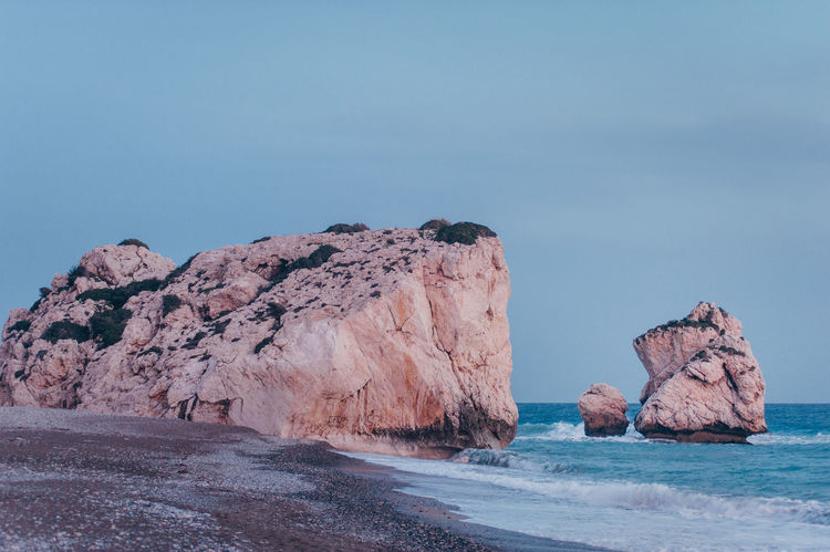 Petra Tou Romiou, Paphos, Cyprus Cliffs Coastline Cyprus Landscape_Collection Medditerenean Pink Sunset_collection Beach Beauty In Nature Blue Cliffs And Sea Coast Dsuk Landscape Nature No People Outdoors Rock - Object Rock Formation Rocks Sea Sky Sunset Tranquil Scene Water