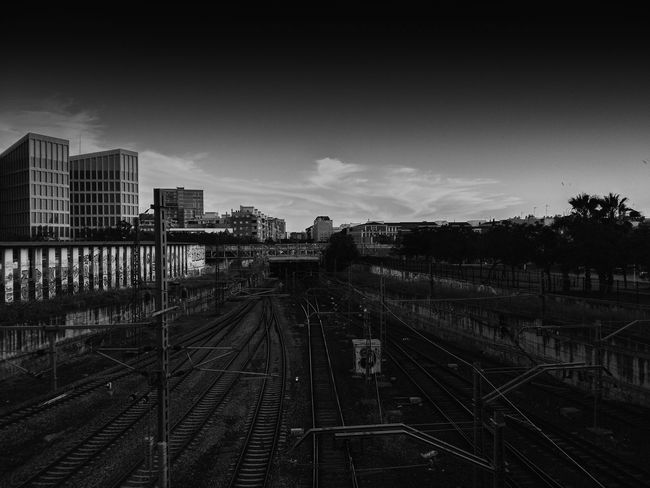 Blackandwhite Bq Bqm5 City Mobilephotography No People Railroad Track Rails Santa Justa Sevilla Sky The Way Forward Train Tren Urban Urbanphotography