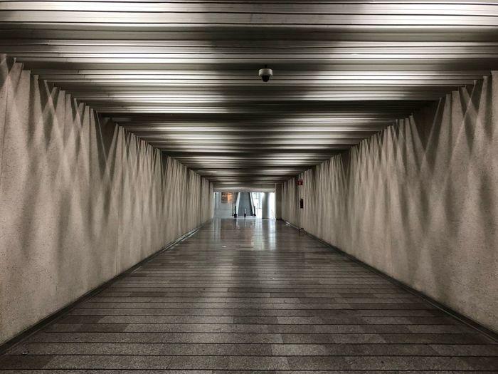 View of empty corridor on airport