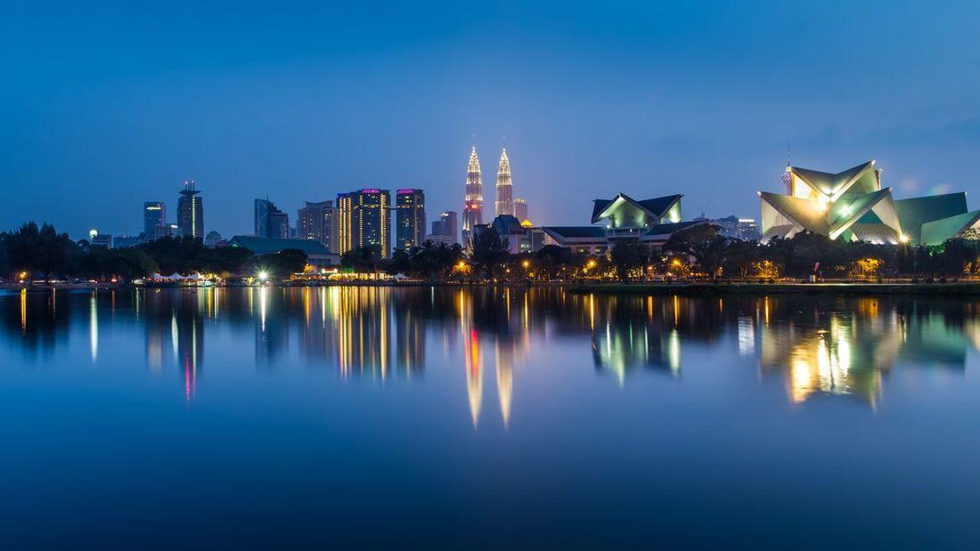 Urban Lake - Bluehours Cityscapes City Kualalumpur Lake Reflection Urbanlake Urban Landscape Light