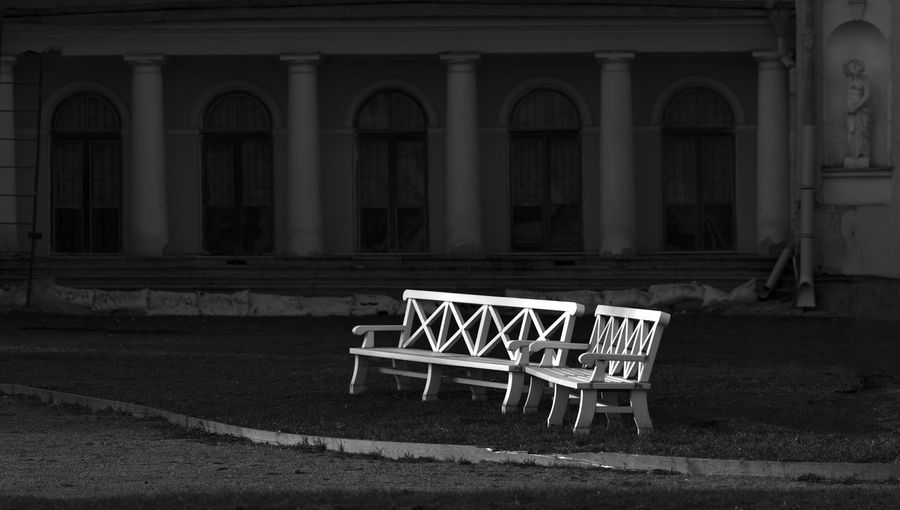 Russia, Moscow, the Palace in Ostankino. Absence Arrangement Chair Day Design Empty Exterior Historic Indoors  Leading Narrow No People Perspective Relaxation Seat Sitting Table Wood Wood - Material Wooden