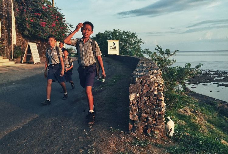 Togetherness Love Lifestyles Childhood Sky Brother School Kids Bali INDONESIA Early Morning Amed Education Walking Walking Around Children Ocean Island Life Life Is A Beach