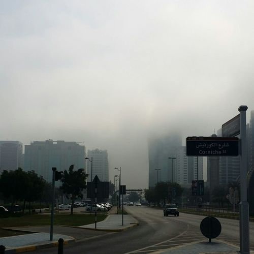 Uae,abudhabi Foggy Morning Street Photography Lovely Weather