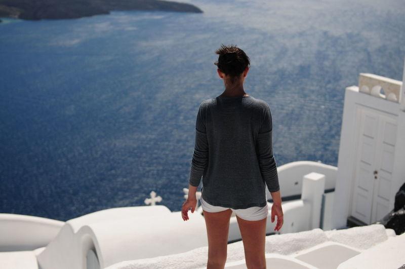 Rear view of woman in greece