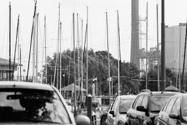 Car Day Outdoors Boats Harbor Blackandwhite