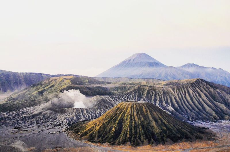Scenic View Of Volcanic Landscape At Bromo-Tengger-Semeru National Park Against Sky