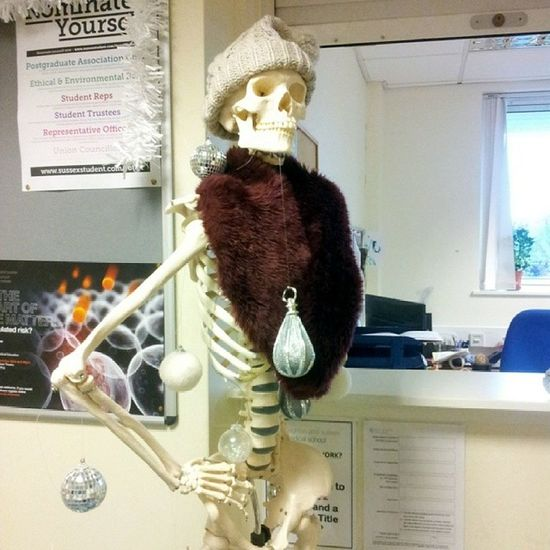 We're not allowed a tree so we've improvised with Bonesy... Christmas Skeleton