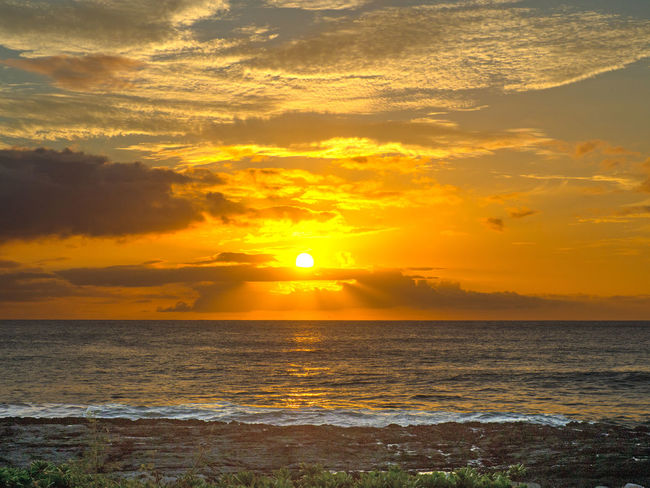 Hawaii Beach Beauty In Nature Cloud - Sky Day Horizon Over Water Idyllic Ko Olina Nature No People Orange Color Outdoors Scenics Sea Sky Sun Sunlight Sunset Tranquil Scene Tranquility Water Wave