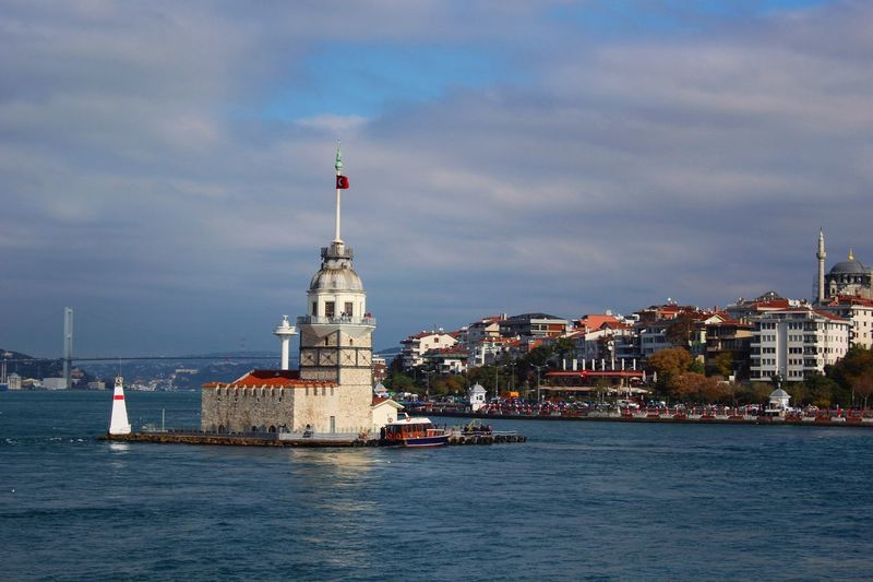 Maiden's Tower On River Against Cloudy Sky