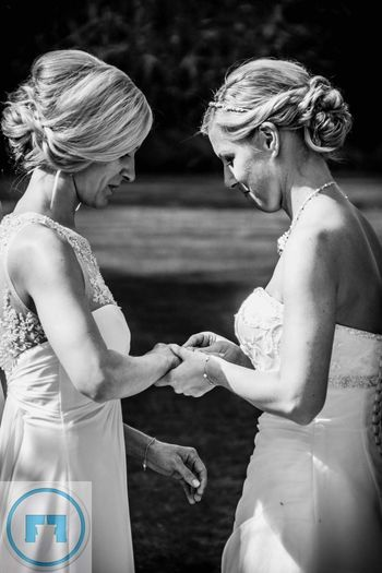 Togetherness Love Standing Holding Person Day Black And White Photography Black & White Blackandwhite Wedding Photos Wedding Weddingphotography Wedding Details Weddings Around The World Hochzeitsfotos Fashion Femininity Lesbian ♥ Lesbian Lesbian Love  Lesbian Couple Lesbiancouple Lesbian Lovers Homosexual Love