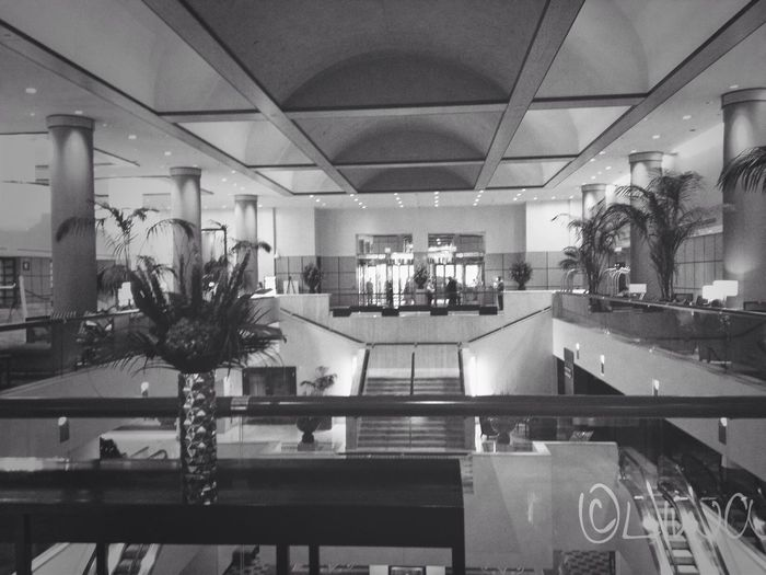 2013 -06-18 The lobby at J.W. Marriott from the trip to DC. Liwa's Travels Black And White