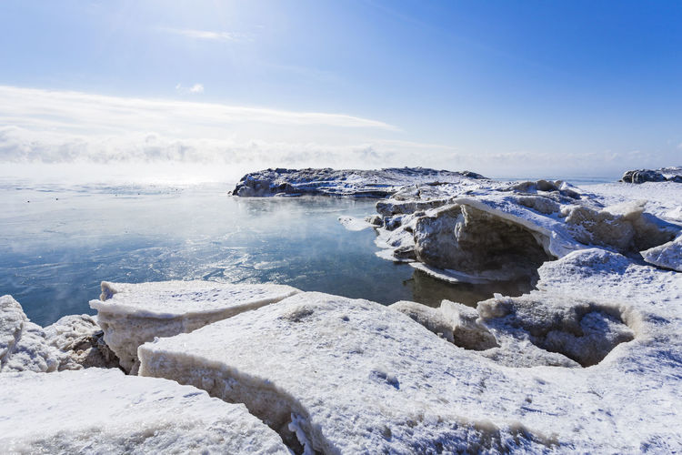A Frozen Lake Ontario, Toronto, Ontario, Canada Beauty In Nature Cold Temperature Day Frozen Ice Iceberg Nature No People Outdoors Rock - Object Scenics Sea Sky Snow Tranquil Scene Tranquility Water Winter