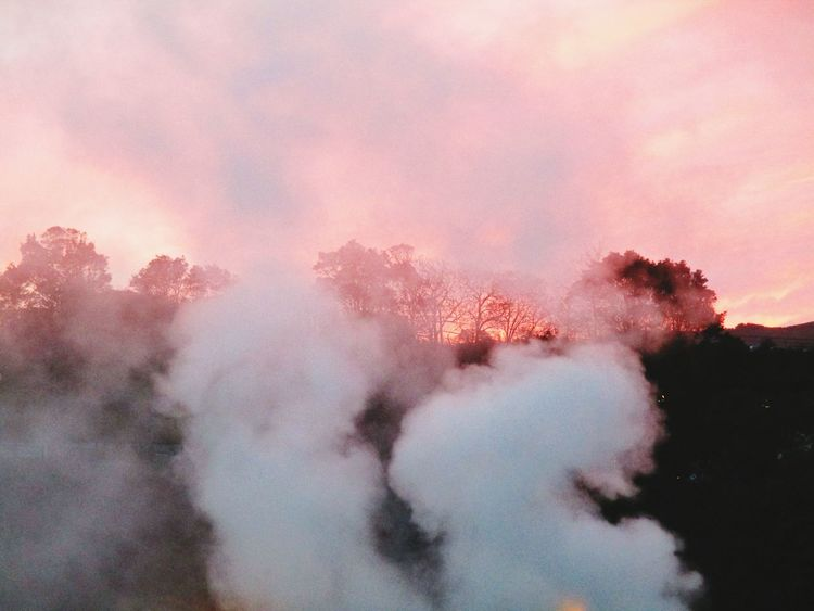 Fumaroles Pink Color Sunset Sky Nature Red Azores Islands Smoke