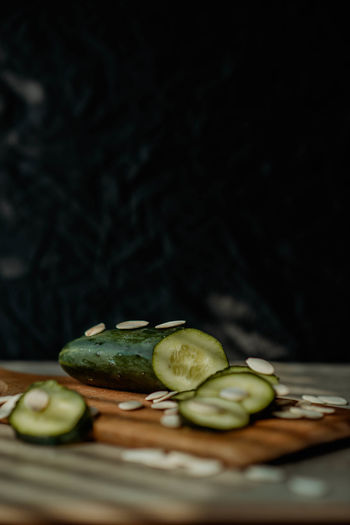 Close-up of fruits on cutting board