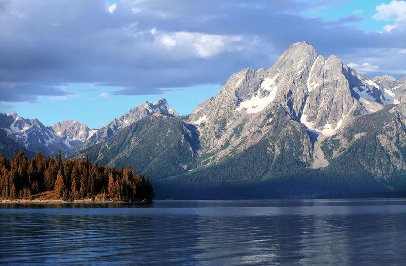 Scenic view of jackson lake against mountain at grand teton national park