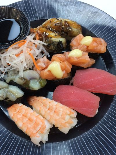 Food Food And Drink Freshness Seafood Healthy Eating Still Life Wellbeing Ready-to-eat Japanese Food Serving Size Sushi Fish Indoors  Close-up Table Asian Food Plate Rice No People High Angle View