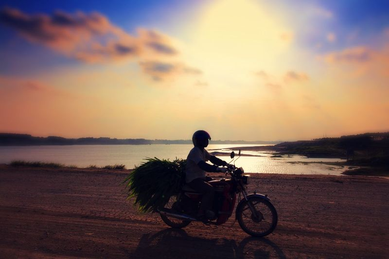 Man Carrying Plants On Motorcycle Against River At Sunset
