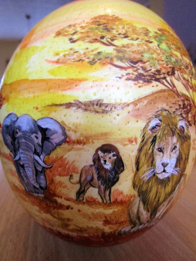 handmade arican ostrich egg African Ostrich Easter Animal Themes Close-up Day Egg Handmade Indoors  Mammal No People Painting Table