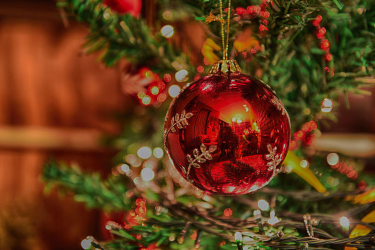 Happy New Year Christmas Toy Red Christmas Ball Toy Celebration Christmas 2017 Christmas Ornament Christmas Tree Decor Decoration Focus On Foreground Happy New Year No People Red Selective Focus
